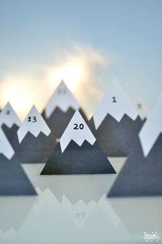 DIY calendrier de l'Avent coussin : les montagnes enneigées
