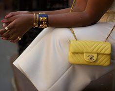 Yellow Chevron Chanel Mini with an Hermes Collier De Chien Cuff and a Cartier Love Bracelet with Juste Un Clou Fendi, Gucci, Chanel Clutch, Chanel Handbags, Chanel Fashion, Fashion Bags, Tote Bags, Cartier, Celine