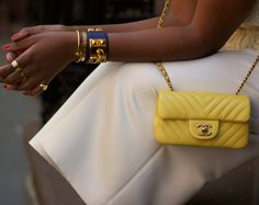 Yellow Chevron Chanel Mini with an Hermes Collier De Chien Cuff and a Cartier Love Bracelet with Juste Un Clou