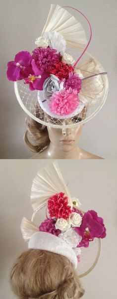 Ivory Veiled Pink Flowers Feather Disc Hatinator Headpiece Fascinator. Fun Hat for the Kentucky Derby, Dubai World Cup, Royal Ascot. Ladies Day Fashion outfits. Idea for spring wedding guest. One of my favourite colour combinations for racing fashion. Outfit ideas and inspiration. #outfits #ebayfinds #kentuckyderby #weddings #derbyoutfits #kentuckyderbyhats #derbyhats #royalascot #ascothats #ascotoutfits #outfitideas #fashion #ladiesdayoutfits #motherofthebride #promotion #fashionsonthefield