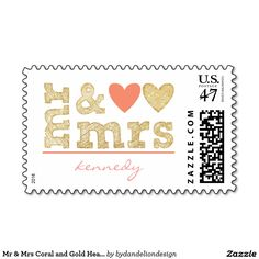 Mr & Mrs Coral and Gold Hearts Wedding Postage