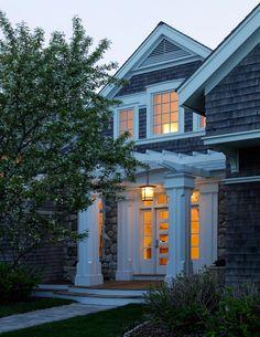 Nantucket House Pergola over front door Nantucket Cottage, Beach Cottage Style, Beach Cottage Decor, Cozy Cottage, Porch With Pergola, White Pergola, Pergola Shade, Pergola Kits, American Houses