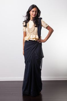 SEHR Navy And Gold Peplum Sari – holiCHIC