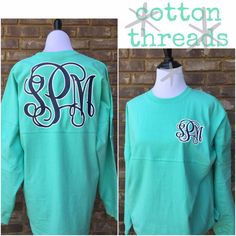 Double Monogrammed Spirit Jersey by CottonThreadsShirtCO on Etsy