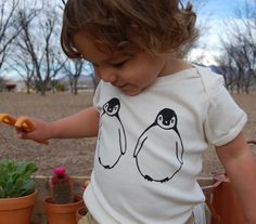 March of the Penguins Organic Cotton Onesie by AsSmallAsMe on Etsy