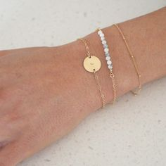 Make it personal with a delicate Initial Disc bracelet