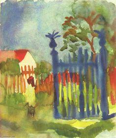 'Gartentor', wasserfarbe von August Macke (1887-1914, Germany)