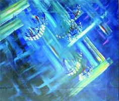 Banc de poissons.  Représentation d'un banc de poissons étincelants à la surface de l'eau.  Peinture acrylique sur toile, réalisée aux pinceaux, palettes et matériaux divers. Format : largeur 70 cm x hauteur 60 cm x épaisseur 4 cm.