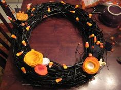 The Cards We Drew: Candy Corn Wreath