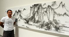 Chen Chun-Hao recreates classic Chinese landscape paintings using a nail gun and thousands of small headless pins