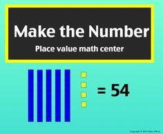 SmartBoard Center: Make the Number, Place Value with Tens and Ones Number Place Value, Place Value Chart, Place Values, Tens And Ones, Smart Board Activities, Teacher Newsletter, Math Centers, Teacher Pay Teachers