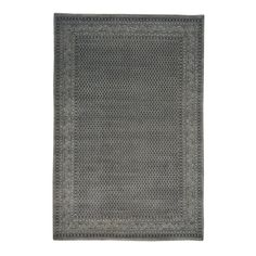 Hand-knotted Silver Sarouk Mir and Silk Area Rug