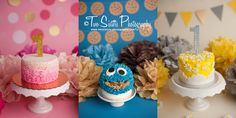 Cake smash sessions by Two Sisters photography.   Pink and gold cake smash, dot banner, ruffle cake  Cookie monster cake smash, blue and brown, cookie monster cake   Yellow and gray cake smash session, daisy cake smash, Silver one cake topper