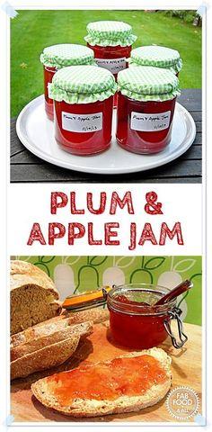 Plum & Apple Jam - delicately divine! @FabFood4All #jam #plum #apple #preserve #canning Plum Jam Recipes, Jelly Recipes, Fruit Recipes, Vegan Recipes Easy, Apple Recipes, Summer Recipes, Canning Recipes, Kitchen Recipes, Apple Jam