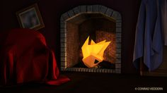 Cozy.  Low poly scene created and rendered in C4D. Photoshop used to contrast and glow.