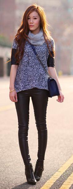 Club Monaco Sweater, Club Monaco Scarf,  Topshop Leather Pants, DV by Dolce Vita Boots