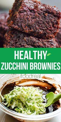 Healthy Zucchini Brownies, Zucchini Desserts, Easy Zucchini Recipes, Vegan Zucchini, Courgette Recipe Healthy, Zuchinni Brownies, Healthy Deserts, Healthy Dessert Recipes, Healthy Baking