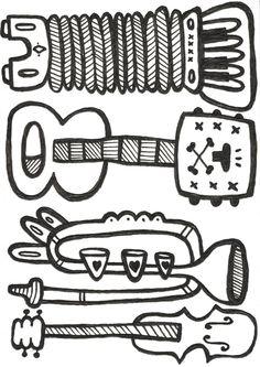 Kevmunday - One Man Band (Biro) Created for Art on a Postcard