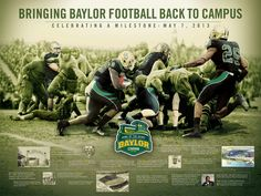 #Baylor Stadium: Bringing football back to campus, Aug. 2014. // Poster seen here was given away at a milestone celebration event May 7, 2013. #sicem