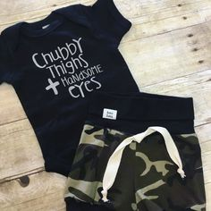 Chubby Thighs & Handsome Eyes Onesie-A must have shirt for your handsome little love bug! Toddler Outfits, Baby Boy Outfits, Trendy Baby Boy Clothes, Trendy Clothing, Kids Clothing, Chubby, Chunky Babies, Boy Onesie, Bodysuit