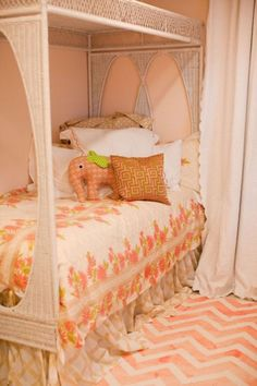 Such a sweet little girl's room that Kristen from Gypsy Soul Interiors designed for her 4-year-old daughter. Kristen painted the chevron stripes on the rug, too, and has a tutorial online at gypsysoulinteriors.com.