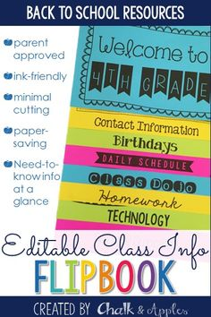 An easy way to get important class information to parents for Meet the Teacher, Open House, or Back to School Night at the beginning of the school year. - Editable back to school parent information flip book