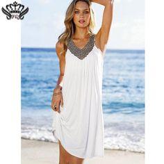 908ee669e22d9 Summer Beach Cotton Dresses Women Evening Party Boho Dress V Neck Backless  Sleeveless Diamond Dress Women Vintage Blue