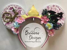 Items similar to Sleeping Beauty Inspired Mouse Ears with Dragon and Spinning Wheel Details and Princess Aurora Crown on Etsy Diy Mickey Mouse Ears, Disney Mickey Ears, Disney Headbands, Pink Headbands, Disneyland Ears, Cat Ears Headband, Green Glitter, Disney Crafts, Artificial Flowers