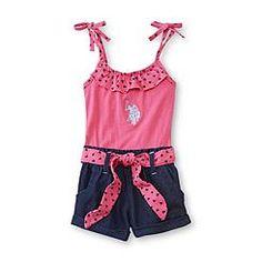 U.S. Polo Assn. Toddler Girl's Romper - Heart Print