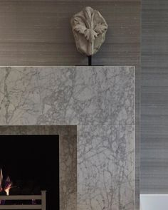 One of our bespoke fireplace designs against a back drop of silk wallpaper. - Architecture and Home Decor - Bedroom - Bathroom - Kitchen And Living Room Interior Design Decorating Ideas - Home Fireplace, Fireplace Surrounds, Fireplace Design, Modern Fireplace Mantels, Classic Fireplace, Fireplace Decorations, Fireplace Ideas, Living Room Designs, Living Room Decor