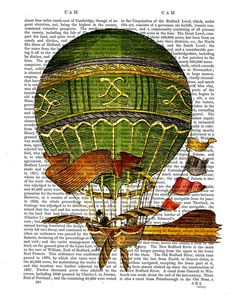 Vintage Green Hot Air Balloon Print Upcycled by DottyDictionary, $10.00