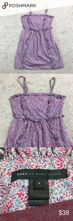 Marc by Marc Jacobs floral ruffle cami dress 4 Lavender floral print sundress with ruffles and adjustable cami straps and pockets. Excellent used condition. Approximate flat lay measurements: chest 16in, waist 14in, length 31 (depending on how you adjust the straps). Marc By Marc Jacobs Dresses