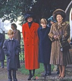 Diana stands with William, Harry, and Princess Margaret on Christmas Day 1993 at Sandringham.