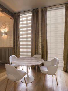Copahome raamdecoratie duo rolgordijn offwhite, beige, neutraal semi transparant/ La décoration de fenêtre. Stores enrouleurs duo, neutre crème, semi transparent