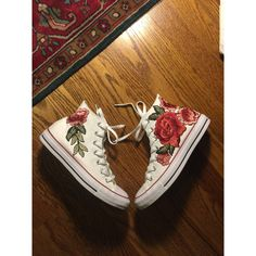 Rose embroidered hi top converse-shoes included in price ($175) ❤ liked on Polyvore featuring shoes, sneakers, high-top sneakers, converse trainers, converse shoes, converse sneakers and rosette shoes