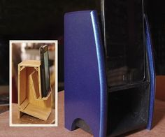 Folded Horn Passive Phone Speaker : 8 Steps (with Pictures) - Instructables Horn Speakers, Diy Speakers, Iphone Speakers, Wireless Speakers, Small Woodworking Projects, Small Wood Projects, Easy Projects, Speaker Amplifier, Speaker Stands