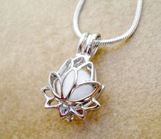 Lotus Flower Aromatherapy Necklace - Silver Plated Lotus Flower Essential Oil Diffuser - Aromatherapy - Personal Diffuser - 17 Snake Chain