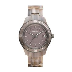 The taupe grey tones of this Stella Resin Fossil watch are the perfect match to your fall wardrobe!