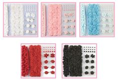 Embellishment Pompon und blumen  set in verschiedene Farben kombiversand