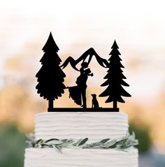 Outdoors wedding cake topper mountain with dog, cake topper tree, cake topper with dog, silhouette cake topper anniversary gift, by TopperDesigner on Etsy https://www.etsy.com/listing/553471122/outdoors-wedding-cake-topper-mountain