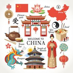 Welcome China Capital Set Red Collection Stock Vector (Royalty Free) 318549362 Chinese Gate, China Green Tea, Cultures Du Monde, Wall Prints, Poster Prints, Chinese Crafts, Thinking Day, Chinese Architecture, China Travel
