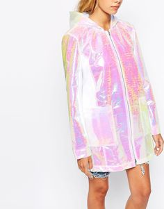 Image 3 of The Ragged Priest Hooded Festival Rainmac In Holographic Fabric Holographic Fabric, Ragged Priest, Hoods, Fashion Online, Cover Up, Street Style, Style Inspiration, How To Wear, Outfits