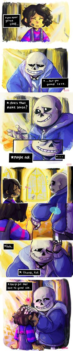 Frisk and Sans - comic - http://thatonegojimun.tumblr.com/post/132365662428/self-indulgent-comic-that-got-a-little-out-of