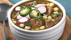 Enjoy this flavorful Mexican dinner that features pork, tomatillos and hominy – a slow cooked recipe made using Old El Paso® green chiles.