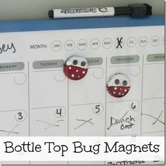 These adorable bottle top bug magnets are fun to do with the kids #crafts http://crunchyfrugalista.com/crafting-with-kids-bottle-top-bug-magnets/