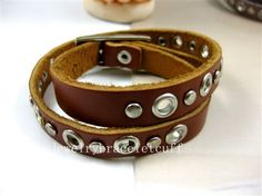 bangle punk rock Bracelet women bracelet man bracelet girl bracelet cuff Leather bracelet metal bracelet wrist SH-0413. $7.99, via Etsy.