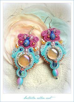 30% OFF - SHOP CLOSING - Dew Drops - fancy soutache embroidery earrings, beads, cabochone. $37.00, via Etsy.