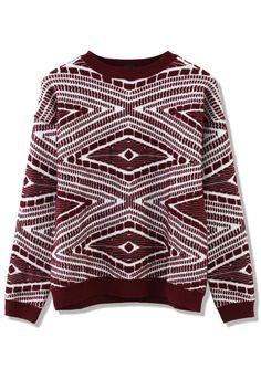 Aztec Embossment Sweater