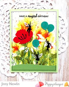 Morning, y'all! It's Jinny here today, sharing my big sister's magical, garden, birthday card. Enjoy! I started this card by stamping those Watercolor Wildflowers, that I simply cannot get enough of, in Squeezed Lemonade, Spiced Marmalade, Barn Door, and Peeled Paint Distress Inks, on watercolor paper. I then spritzed over them with water to get more of a watercolor effect and splattered everything with those same shades of Distress Inks mentioned above, as well as Pure Black and Titanium…