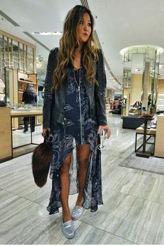 e5390ebb09eee Blue dress w  leather Versace Jacket